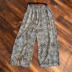 Mission Tribal Print Blue Green Palazzo Pants